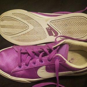 Nikes - metallic purple, white & silver!